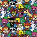 HALF YARD -  Anime Animal Party on BLUE - Tomodachi - Unicorn, Bunny, Panda Sumo, Lion Samurai, Pig eating Ramen, Elephant, Monkey Ninja
