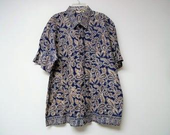 Java Batik . blue and brown printed shirt . size XL    17 - 17 1/2