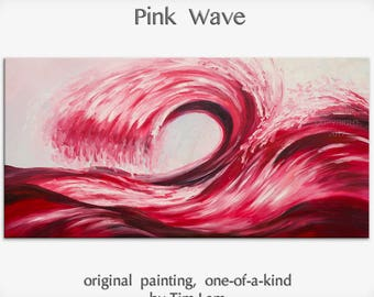 Art, painting, oil painting, Pink Rolling Wave, landscape painting, wall decor canvas, oil painting, abstract painting, by Tim Lam, 48""