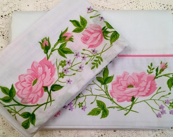 Lady Pepperell Pink Rose Bedding - Twin Sheet Set - Flat Sheet and Pillowcase -  Pink Green White - Unused Vintage Bedding