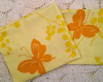 Vintage Pillowcases - Yellow Butterfly Standard Cases - Soft - Yellow Orange Springmaid Wondercale