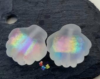 Lampwork Beads Rainbow Dichroic Shimmer Shells
