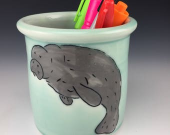 Manatee pencil holder. Free Priority US Shipping
