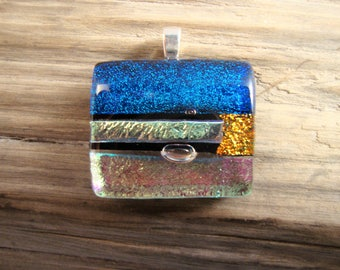 Glass Necklace - Dichroic Fused Glass Pendant