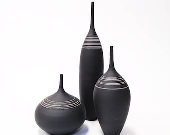 Ships Now-  set of 3 med/lrg stoneware bottles in black and white by sarapaloma