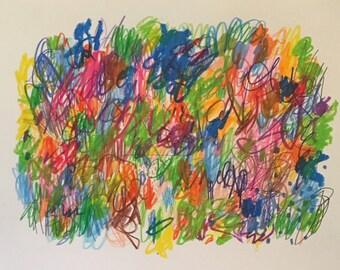 "Paradise mixed media artwork on paper 9x12"""