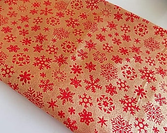 """Vintage Cotton with Gold Snowflake Overlay - 44"""" x 30"""""""