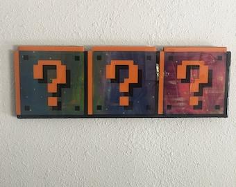 galaxy question block block - super mario galaxy painted repurposed wood wall art