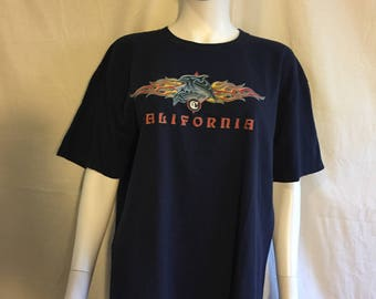 90s Grunge California Tattoo California Dolphin t shirt Flames