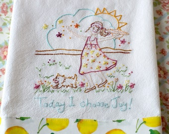Today I Choose Joy Happy Girl Dog PDF Pattern Instant Download