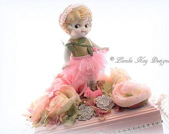 Spring Roses Jewelry Box Art Doll Mixed Media Assemblage Art Doll Special Jewelry Ring Box
