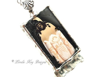 Lacy Look Pumpkin Necklace Small Soldered Box Pretty Thanksgiving Halloween Pendant Mixed Media One-of-a-Kind Lorelie Kay Original