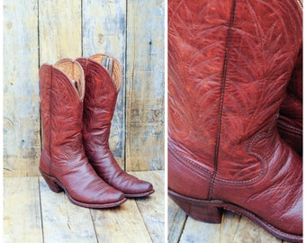 1950s, Leather Cowboy Boots, Us 6, Uk 4, Eu 36 37, Old Cowboy Boots, Classic Cowboy Boot,