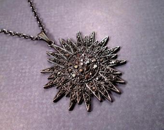 Starburst Necklace, Black Glass Rhinestone Pave Pendant, Gunmetal Silver Chain Necklace, FREE Shipping U.S.