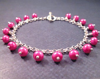 Pearl Charm Bracelet, Wirw Wrapped Silver and Pink Glass Beaded Bracelet, FREE Shipping U.S.
