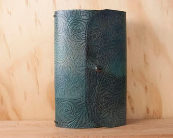 Tooled Leather Travelers Notebook - Midori Notebook for Moleskine Cahier Large  - Floral Tooled leather in Open Seas - Aqua