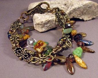 Bohemian Bracelet by Mona Sullivan - Multi-Colors Picasso Seed Beads Bracelet by Monaslampwork - Antique Brass Chain Large Clasp