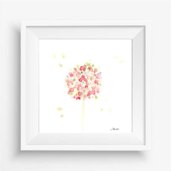 "Original watercolor flower painting: ""Pink and Green Hydrangea Bloom"""
