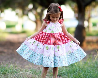 Girls Camper Dress- Girls Dress - Girls Summer Dress - Girls Sundress - Vintage Camper Dress - Girls Vintage Dress -Girls Twirl Dress -