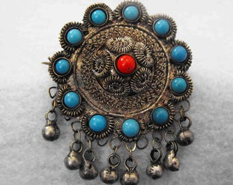 Vintage Brooch, East Indian, Silver Wire, Beads, Dangles ca 1910-20 NT-639