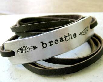 Breathe Bracelet, Feather Bracelet, Leather Wrap Bracelet, Inspirational Bracelet, Inspire, Motivational Bracelet, Motivate, choose leather