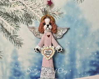 READY to SHIP! Blenheim Cavalier King Charles Spaniel Angel Dog Christmas Ornament PERSONALIZED free with dog's name by Sally's Bits of Clay