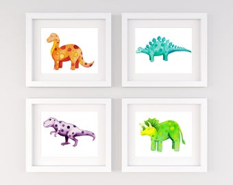 Dinosaur Nursery Decor, Dinosaur Watercolor, Dinosaur Artwork - Set of 4 Dinosaur Prints - Kids Room Decor, Baby Shower Gift
