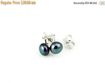 50% OFF Black Pearl Stud Earrings, Small Freshwater Pearl Earrings