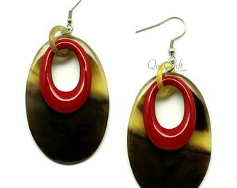 Horn & Lacquer Earrings - Q12866-R