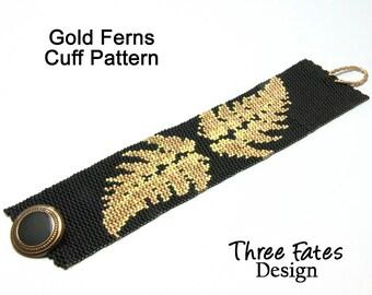 Peyote Bracelet Pattern, Gold Ferns, Black and Gold, Pattern, Cuff Pattern, Instant Download