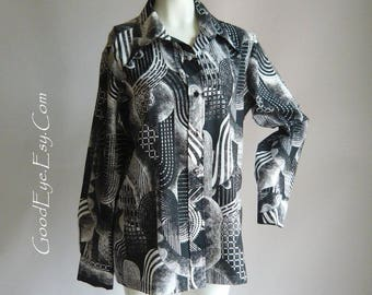 Fab LANVIN Optic Print Shirt 1970s / Black White Grey SIGNATURE Geometric / Ladies Long Sleeve Pointed Collar / size bust 32 34 inch