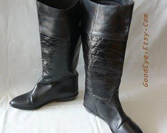 Vintage Nine West Leather Riding Boots / size 6 M Eu 36 UK 3 .5 / Black Moc Croc Knee Flat Equestrian/ made in Brazil