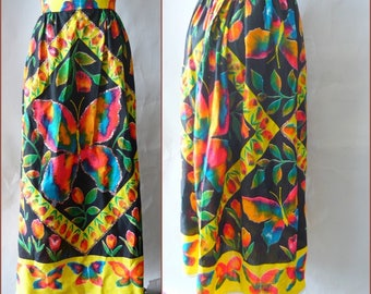 Colorful 60s Maxi Skirt / size small 2 4 6 8 / ELINOR GAY High Waist Floor Length / Sparkling BUTTERFLY Glitter Accents Bohemian Chic