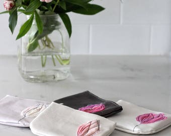 Leather Coin Purse - White Pearl &  Blush