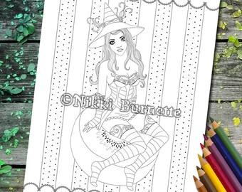Coloring Page - Digital Stamp - Printable - Fantasy Art - Stamp - Adult Coloring Page - KARA - by Nikki Burnette