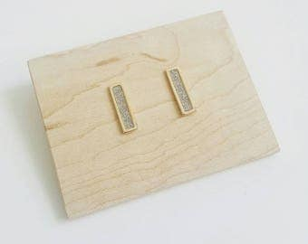 Minimalist Rose Gold and Sterling silver studs. Rose gold bar studs. Solid sterling silver bar studs.