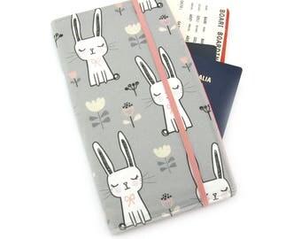 Travel Wallet, passport holder, family travel wallet, travel organizer, passport wallet, document holder - Sweet Bunny Rabbit