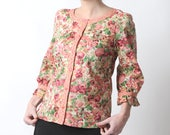 Floral womens shirt with ruffled sleeves, Pink button down shirt, Womens clothing, Pink, green and white cotton shirt, MALAM