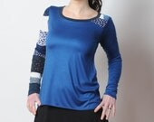 Blue patchwork top, Long sleeved supple top with patchwork yokes, Womens clothing, Womens tees, MALAM