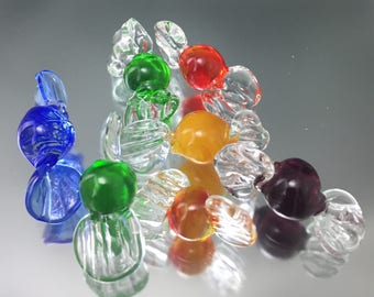set of seven glass candies, lampwork candies, home decor glass, bowl filler candy, miniature glass bon bons, Venetian style Glass Candy