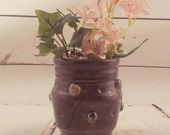 Ceramic Pot - Small Vase - Stoneware Spoon Jar - Purple Succulent Pot with Silvery Palladium Buttons and Gray Swirls - Ready to Ship  v641