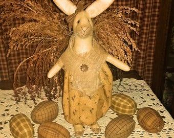 "13"" Primitive Standing Bunny Cloth Doll Decoration"
