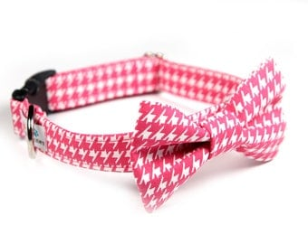 Pink BowTie Dog Collar, Laser Engraved option,  Wedding Dog Collar - Hot Pink Hounds