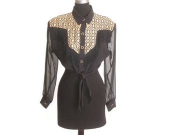 Vintage 1980s Western Tassel Cropped Sheer Sleeve Black and Gold Blouse size M