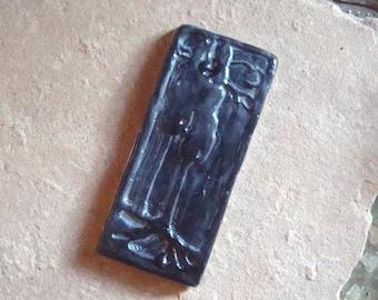 Ceramic Clay Pottery Rustic Art Deco Black Art Tile Trees Relief Mosaic Home Decor Handmade Earthenware