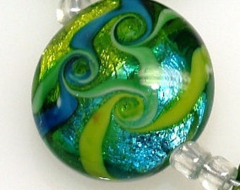 Pearly – Green Metallic Lentil, lampwork beads, Handmade lampwork glass bead SRA, unique handmade lampwork beads, jewelry bead supply, beads