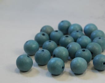 Robin's Egg Blue Dyed Wood Beads, 15mm Round, Wholesale Bead Supplies
