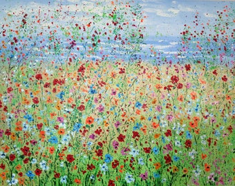 Large Oil painting  Abstract  30 x 40   Ocean and Wildflowers - FREE SHIPPING in US