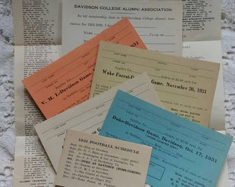 Vintage 1931 College football order forms Tickets..Duke..V.M.I