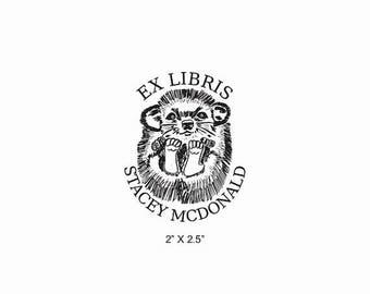 Xmas in July Cute Baby Hedgehog Ex Libris Rubber Stamp O27